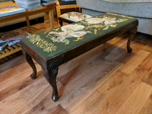 Needlepoint embroidered bench