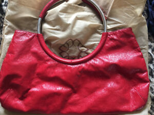 Italian Leather Red Mini Bag with Circle Metal Handles