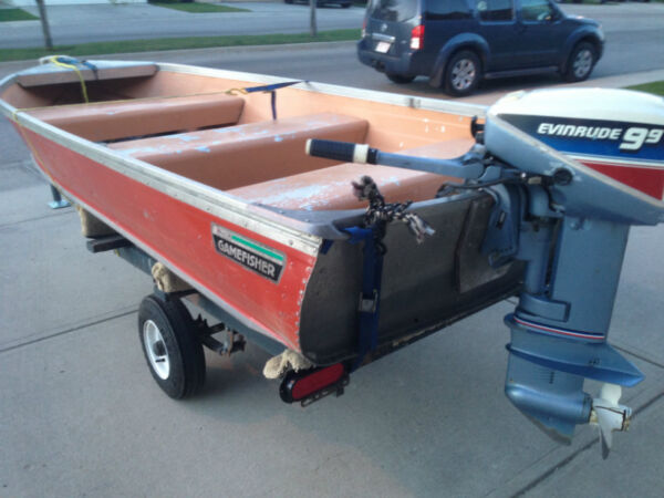 Used 1980 Evinrude 12 ft aluminum boat with 9.9 hp Evinrude motor
