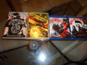 2DVD'S and 2 Blu Ray DVD's of Sons of Anarchy Seasons 1,2,3,4,