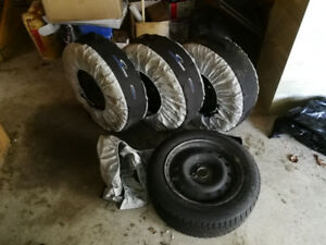 Snow Tires with Steel Rims & Covers - Yokohama 185/65R15