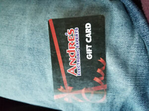 Andre's electronic gift card $70 on it selling it for $60