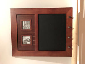 Wall Mounted Key Holder with picture frames & chalkboard.
