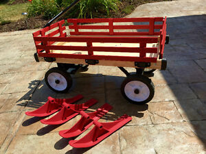 Brand New Red Wagon with skis