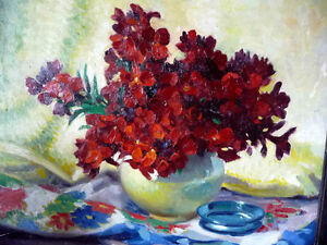 "Original, British Still Life by E. H. Mooney, ""Red Flowers"" Stratford Kitchener Area image 2"
