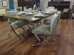 Harvest Style Dining Table w/4 Chairs w/ Funky Bases