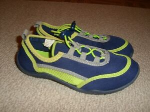 Water Shoes Size 13/1 Navy with Lime Green and Grey Trim---