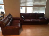 2 Leather Sofas -- 3 seater + 2 seater