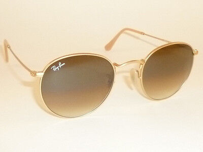 RAY BAN Sunglasses ROUND METAL Matte Gold Frame  RB 3447 112/51  Gradient Brown (Rb3447 Matte Gold)
