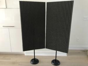 Auralex proMAX acoustic panels with floor stands, acoustic treat