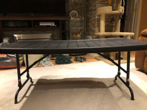 Black Plastic Table with Folding Legs
