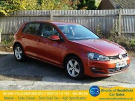image for VW Golf Match 1.6 TDi - Zero Road Tax - 45k Miles -Great specification - 2014/64