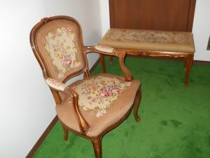 FRENCH PROVINCIAL TAPESTRY CHAIR & BENCH