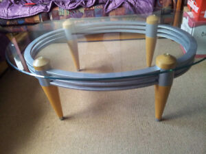 Coffee table Tempered Glass top Wood legs Art Deco design