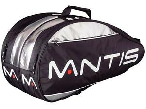 MANTIS DELUXE THERMO 12 RACQUETS THERMO BAG ,BLACK /SILVER , NEW
