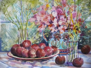 "Morning Harvest, ""Apples on a Large Plate"" by Nell LaMarsh, 1994 Stratford Kitchener Area image 4"
