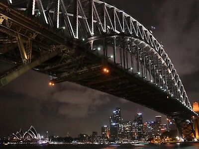 PHOTO CITYSCAPE SYDNEY HARBOUR BRIDGE NIGHT LARGE WALL ART PRINT POSTER LF2263 (Sydney Harbour Bridge Poster)