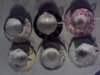 6 beautiful cups and saucers