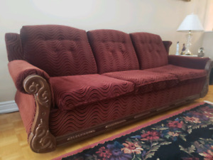 Antique Burgundy wood sofa seat couch w pull out bed & love seat