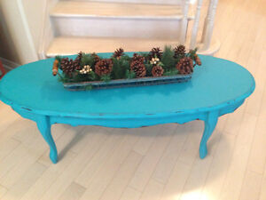 Aqua Chalk Painted Coffee Table, Distressed and Waxed