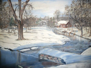 "Original Oil Painting ""Winter's Day By The Stream"" Stratford Kitchener Area image 2"