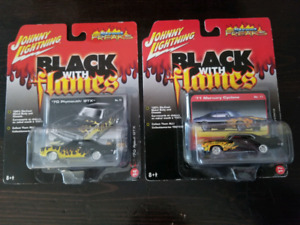 Johnny Lightning diecast 1:64 Black with Flames
