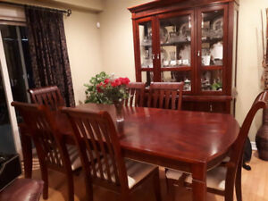 Dining Table set with 6 Chairs and Hutch and Buffet