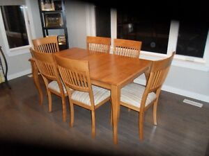 Solid Birch Dining Table and 6 chairs