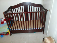 StorkCraft Rochester Cherry Wood Crib with Drawer