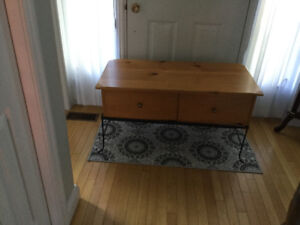 Beautiful pine coffee table with storage drawers, $200obo