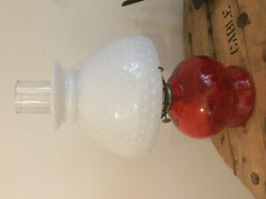 Antique hurricane lamp milkglass and red