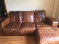 Brown Leather 3 seater Corner Sofa £35 Need Gone ASAP