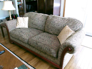 Great Sofa Couch and Chair with Mahogany Wood