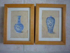 TWO SMALL FRAMED ORIGINAL BLUE AND WHITE VASE PAINTINGS $20/2