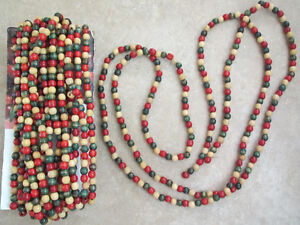 5 Strands Wooden Christmas Garland Beads