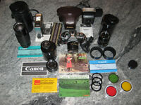 Canon AE-1 Program 35mm Camera and accessory collection