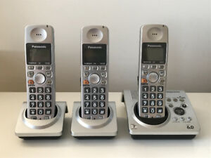 Panasonic Cordless Phones - Set of 3 - w/ Digital Voicemail
