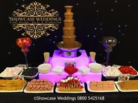 Chocolate fountain hire fondue sweet cart ferrero rocher weddings events decor