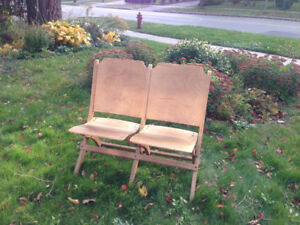 Vintage. Folding two seater wood bench