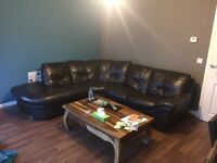 Dark brown leather corner couch