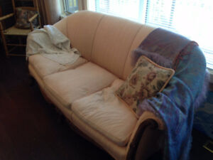 Antique Clawfoot Couch with Down Seat Cushions in Banff