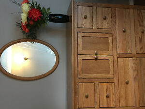 Gorgeous solid oak dresser, mirror and night stand