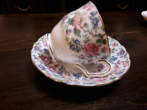 FINE BONE CHINA CUP SAUCER, CROWN STAFFORDSHIRE,  FLOWERS