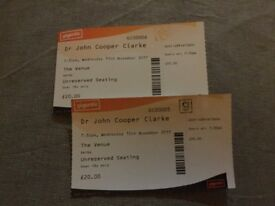 Dr John Cooper Clarke - SOLD OUT concert. Two tickets for 15/11/2017 Derby