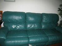 Leather Couch $ 380 & recliner chair $350 & Sofa $ 80.00