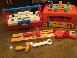 Two Fisher Price Work Benches and tools - 1980 and 2003