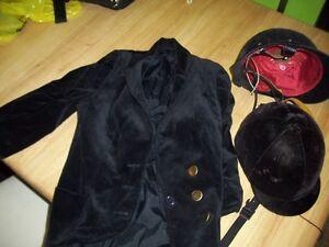 Horse Riding helmet x2 velvet coat dressage costume kids english