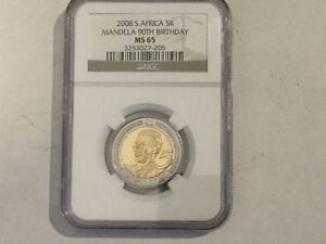 2008 NGC Graded Five Rand South African Nelson Mandella Coin