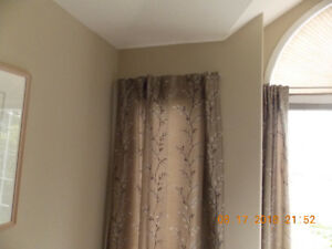 FOUR LINED DRAPERY PANELS