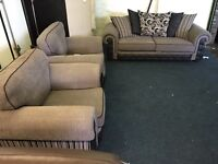 Designer brown beige fabric 3 seater sofa and 2 armchairs three piece suite
